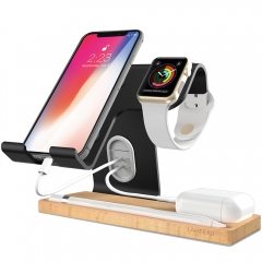 Apple Watch Stand, LAMEEKU Cell Phone Stand Compatible For Smartphone, iPhone 6 6s X 7 8 Plus, Apple Watch, iPad Airpods Apple Pencil Tablet - Black