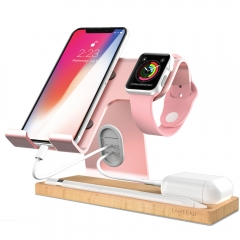 Cell Phone Stand, LAMEEKU Apple Watch Stand, iPad Stand   Compatible For iPhone Android Smartphone Apple Watch Airpods E-reader iPad - Rose Gold