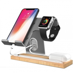 Apple Watch Charging Stand, LAMEEKU Cell Phone Wood Charging Stand Aluminum Phone Stand  Compatible For Smartphone, Airpods iPad Tablet - Gray