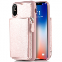 iPhone X Wallet Case, iPhone X Card Holder Case, LAMEEKU Protective Leather Wallet Case with Hidden Card Slot for Apple iPhone X 5.8
