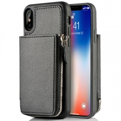 iPhone XS Wallet Case, iPhone X Card Holder Case, LAMEEKU Protective Leather Wallet Case with Hidden Card Slot for Apple iPhone XS / X 5.8