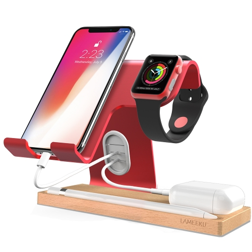 Apple Watch Stand, LAMEEKU Cell Phone Stand Dock Cradle   Compatible For Apple Watch, all Smartphone, iPhone X 8 7 6 6s Plus - Red