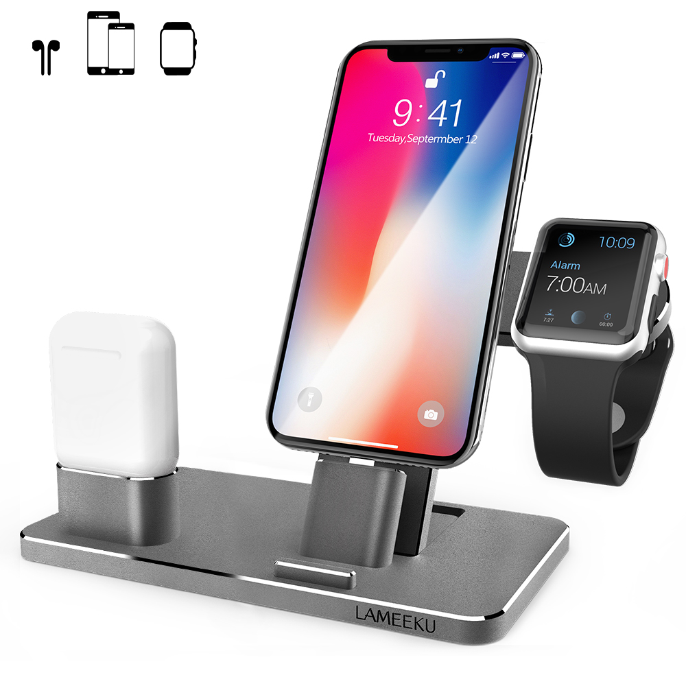 new style 662ce 34de9 LAMEEKU Compatible Aluminum iPhone Charging Dock Replacement for Apple  Watch Stand, Charger Station Holder for iPhone X 8 Plus 8 7 Plus 7, Grey