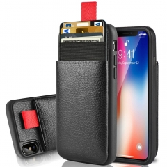 iPhone Xs Wallet Case, iPhone X Card Holder Case, LAMEEKU Protective Leather Case with Hidden Credit Card Slot for iPhone X/Xs 5.8