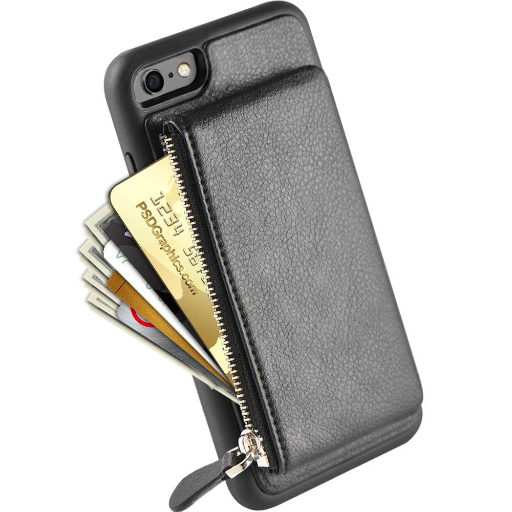 huge selection of 3df89 2089a iPhone 6S Plus Case Zipper Wallet, LAMEEKU iPhone 6 Plus Kickstand Leather  Case with Credit Card Holder Slot for Apple iPhone 6S Plus/6 Plus 5.5