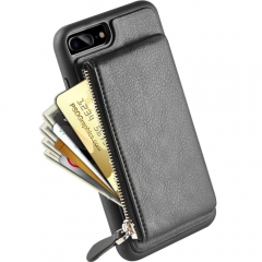 iPhone 8 Plus Zipper Wallet Case, iPhone 7 Plus Leather Case with Kickstand, LAMEEKU Credit Card Holder Slot Cases for iPhone 7 Plus/8 Plus 5.5""