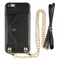 "iPhone 6 plus Wallet case, LAMEEKU iPhone 6s Plus Case with Card Slot, Crossbody Chain Strap & Wrist Strap for Apple iPhone 6 Plus/6s Plus 5.5"" Black"