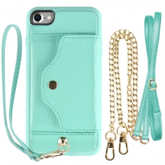 "iPhone 6s Case, LAMEEKU iPhone 6 Wallet Case with Credit Card Slot, Crossbody Chain Strap & Wrist Strap for Apple iPhone 6s / 6 4.7"" Mint Green"