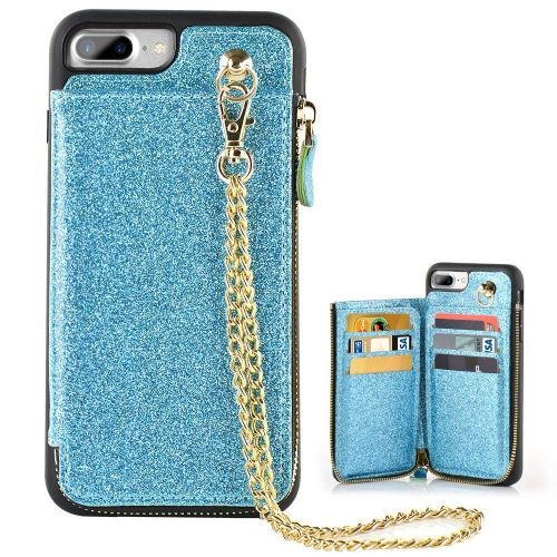 iPhone 7Plus/8 Plus Card Holder Case, LAMEEKU Leather Zipper Wallet Case for Apple iPhone 7Plus/8 Plus 5.5 Glitter