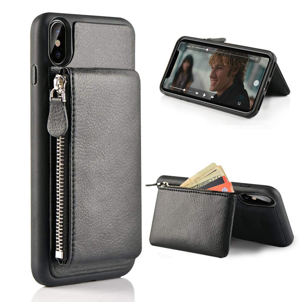 online store 5c6ea ade1d iPhone XS Max Wallet Case, Shockproof Leather Credit Card Holder Slot Case  for iPhone XS Max