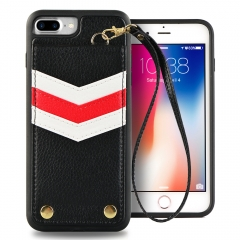 "iPhone 8 plus Wallet Case, LAMEEKU Apple 7 plus Case Protective Cover with Mirror and ID Card Slots, Hand Strap for iPhone 7 Plus/8 Plus 5.5"" Black"