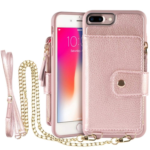 LAMEEKU Card Holder Case for iPhone 7 Plus and 8 Plus, Leather Wallet Case with Wrist Strap Crossbody Strap Credit Card Slot, Protective Cover