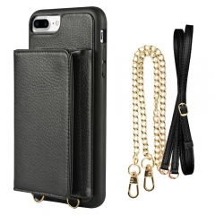 LAMEEKU Zipper Wallet Leather Case, Card Holder Slot Cases with Money Pocket Wrist Strap Crossbody Chain for iPhone 7 Plus/8 Plus-5.5""