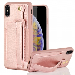 iPhone Xs Max Wallet Case, LAMEEKU iPhone Xs Mas Case with Elastic Credit Card Slot Pocket, Adjustable Magnetic Wrist Strap Viewing Stand Feature