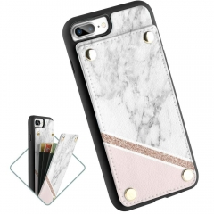 LAMEEKU iPhone 7 Plus Wallet Case, Leather Card Holder for iPhone 7 Plus/ 8 Plus White & Pink Marble Pattern