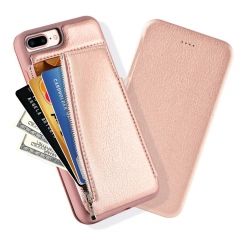 iPhone 8 Plus Wallet Case, iPhone 7 Plus Flip Case with Back of Phone Wallet, LAMEEKU Shockproof Leather Case with Zipper Money Pouch Magnetic Closure