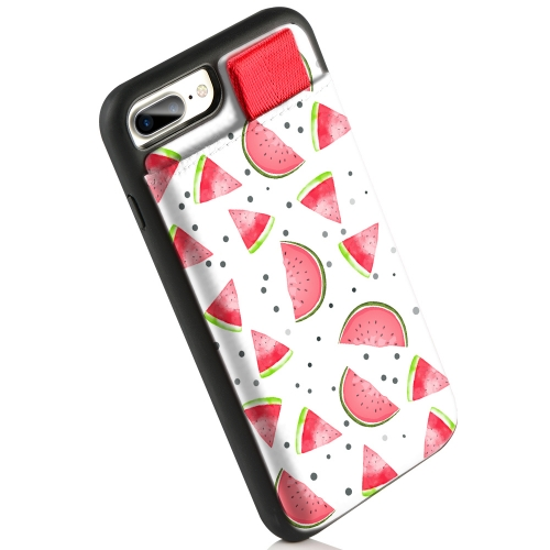 iPhone 8 Plus Case, LAMEEKU iPhone 7 Plus Wallet Case Fruit Design Card Holder Protective Cover Watermelon