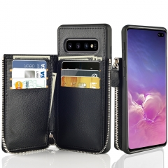 Samsung Galaxy S10 Plus Zipper Wallet Case, LAMEEKU Leather Case Credit Card Holder Slot Case, Protective Cover for Samsung S10+ 6.4''-Black