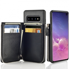 LAMEEKU Zipper Wallet Case, Leather Case Credit Card Holder Slot with Money Pocket, Protective Cover for Samsung Galaxy S10 6.1''-Black